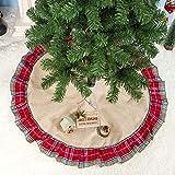 Faldas árbol De Navidad Falda Para Arbol De Navidad Rústico Vintage Plaid Yute Volante Rojo y Marrón Faldas de árbol de 100 cm Naturales Decoraciones Navideñas (Caqui + Rojo, 100 cm)