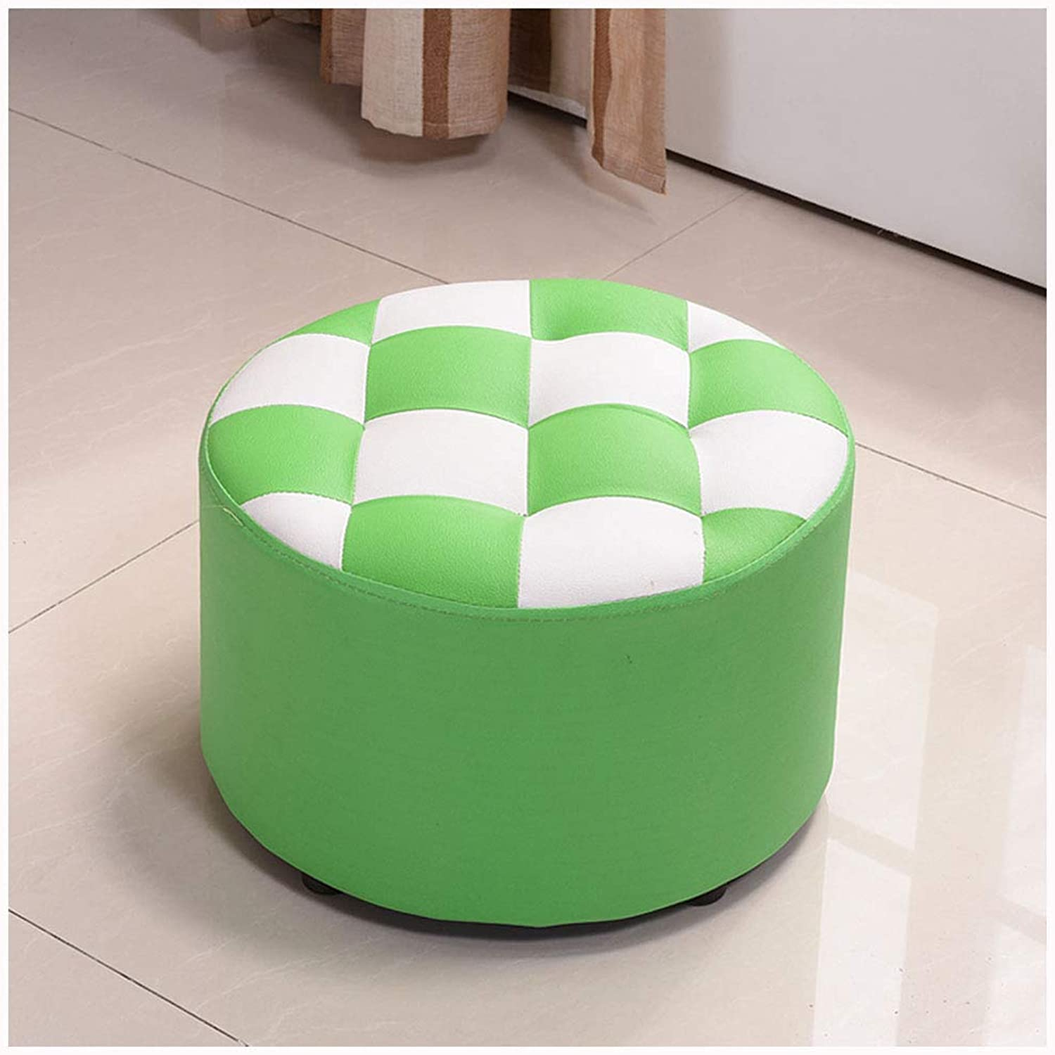 SMC stool Fashion Creative Solid Wood Small Bench Round Short Coffee Table Stool Home Leather shoes Bench (color   Green)