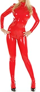 VsvoLatex Women`s Latex Rubber Neck Entry Catsuit Unitard Shoulder Crotch Zipper