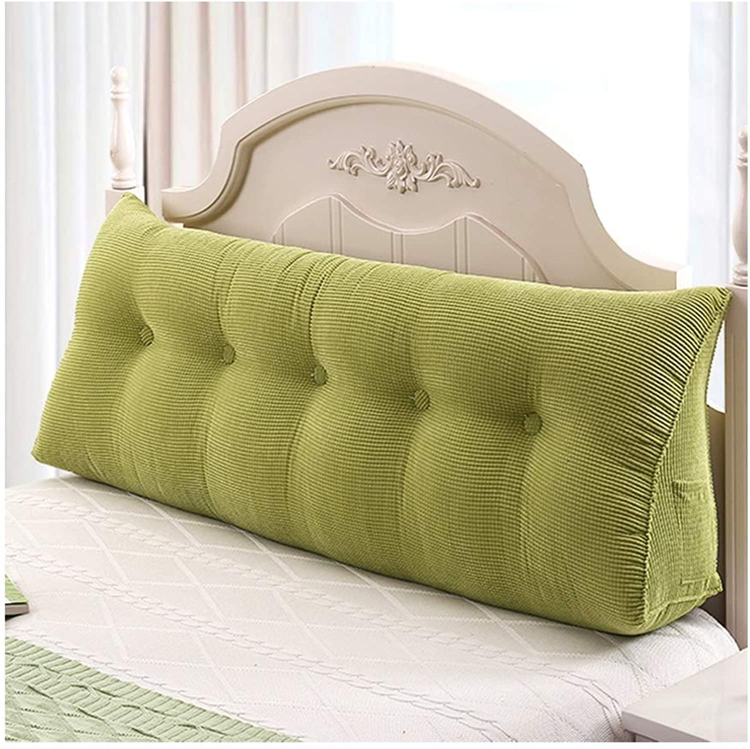 Bedside Cushion,Double Bedside Triangle Cushion Pillow Sofa Backrest Case Predect The Waist Soft Bag Reading (color   Green, Size   80  50cm)
