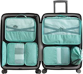 Packing Organizers - Clothing Cubes Shoe Bags Laundry Pouches for Travel Suitcase Luggage, Superior Canvas Storage Organizer 7 Set Color Cyan