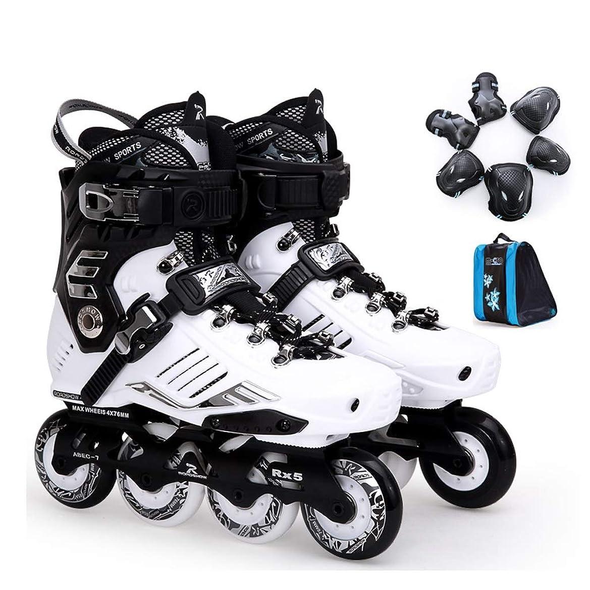 不毛足首満足させるZHANGHAIMING 男性と女性のためのインラインスケート、成人大学生初心者単列スケート、スポーツスピードスケート靴、2色 (Color : White, Size : EU 42/US 9/UK 8/JP 26cm)