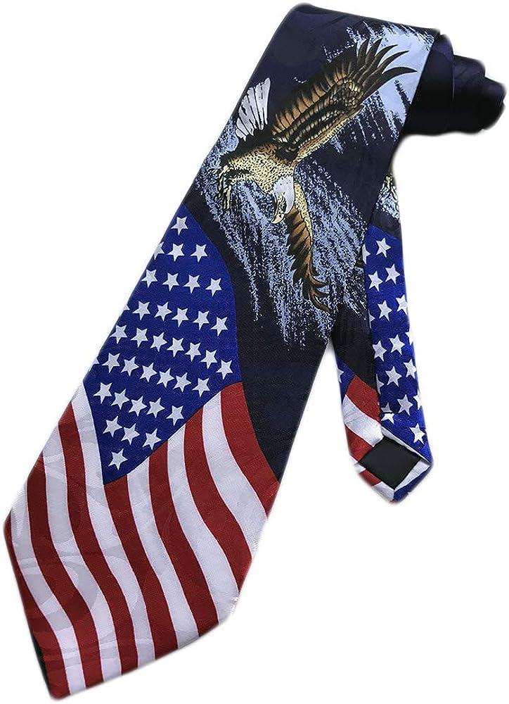 Steven Harris Men's Patriotic Eagle Over Flag Neck Tie - Blue