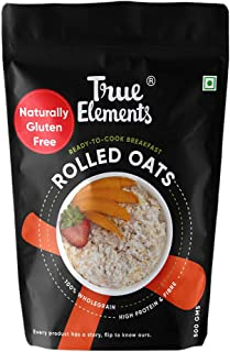 True Elements Rolled Oats 500gm - Gluten Free Oats, Fibre Rich, Rolled Oats for Weight Loss, Diet Food