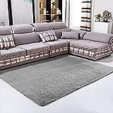 lzndeal - Alfombra de suelo Shaggy cómoda y antideslizante, terciopelo absorbente, decoración Shaggy de salón de pelo, varios colores, 120x 80cm, color gris, gris, 120_x_80 cm