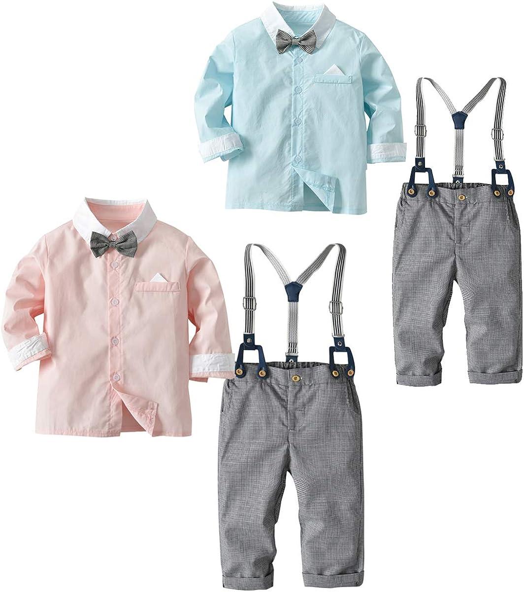 Tianhaik Boys' Gentle Suit Long Sleeve Bow Tie Shirt+Suspender Pants Clothes Set
