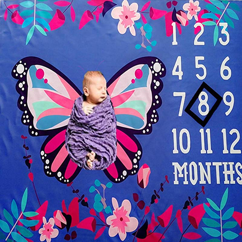 Baby Monthly Milestone Blanket Newborn Girls Photo Props Shoots Backdrop Personalized Blue Background Color Butterfly Flower Photography Growing Infants Toddlers Swaddle Blanket