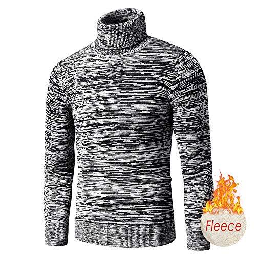 Herbst New CasualMixed Color Baumwolle Fleece Rollkragenpullover Pullover Herren Wintermode Warm Thick Sweater Herren XXXL Darkgrayfleece