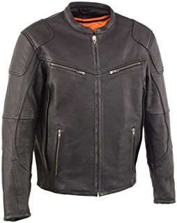 Men's Vented Scooter Jacket with Cool Tec Leather & Side Stretch