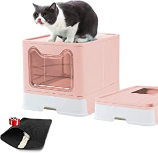 Cat Litter Box with Lid Foldable Large Cats Potty Top Entry Type Anti-Splashing Easy Clean Cat Supplies with Pet Litter Sc...
