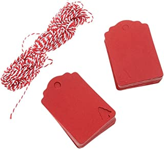 Christmas Tree Hanging Tag With 10M Hemp Rope Kraft Paper Decor Present Gift Labels, Pack Of 100 (Red)