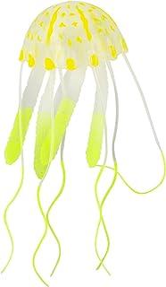 Saim® Mini brilla en la oscuridad medusas Artificial para Fish Tank Decoración Adorno de Acuario (amarillo)
