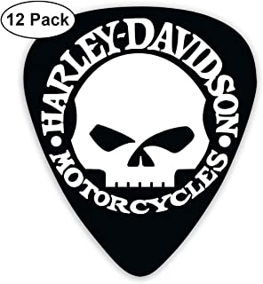 Grace Little Harley Skull Stylish Celluloid Guitar Picks Plectrums for Guitar Bass 12 Pack