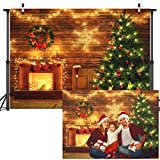 Sensfun Christmas Backdrop for Photography Shiny Wooden Wall Lights Christmas Fireplace Decoration Background Rustic Wood Xmas Tree Backdrops Holiday Party Banner Kids Portrait Photo Booth Props 7x5ft