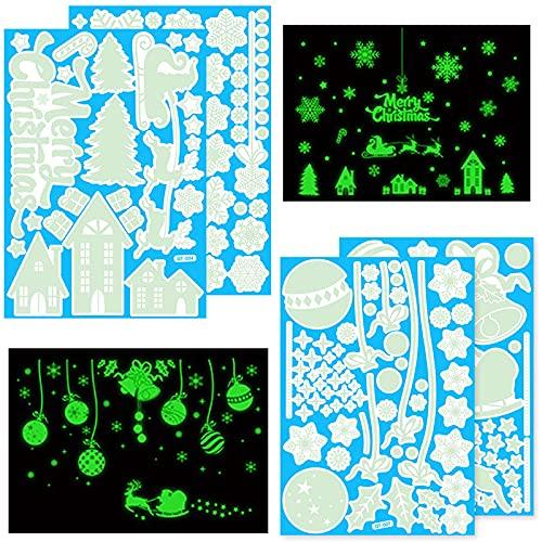 165 Pezzi Natale Vetrofanie Adesivi Murali Adesivi da Parete Fluorescenti Decalcomanie Finestra del Natale Adesive Fluorescenti Decorazioni da Parete del Natale per Finestre, Pareti, Bicchiere