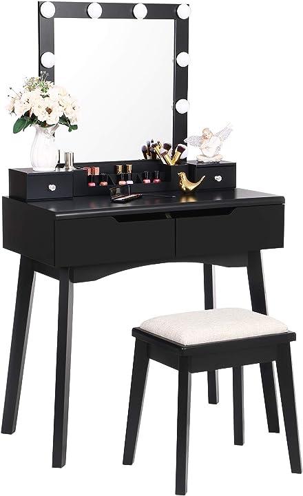 Tavolo da toeletta con specchio, 10 lampadine a led, tavolo con 4 cassetti anwbroad bdt06b B08P4JJQRX