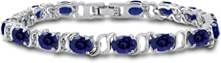 Silver Plated Brass Oval Cut Gemstone Tennis Bracelet 7 inch
