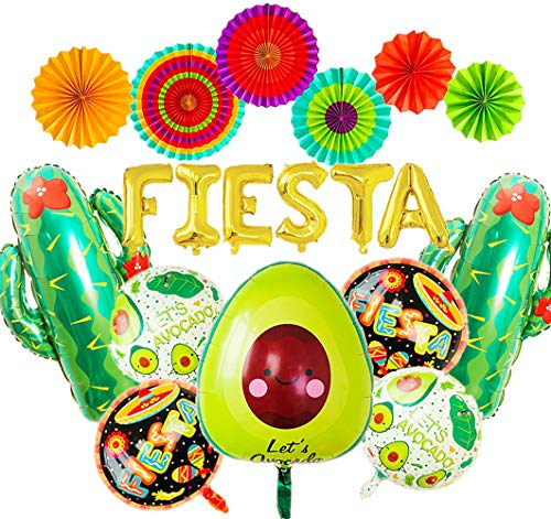 JeVenis Set von 14 mexikanischen Party Dekoration Fiesta Party Dekoration Fiesta Luftballons Kaktus Luftballons Fiesta Party Supplies Hochzeit Geburtstag Baby Shower
