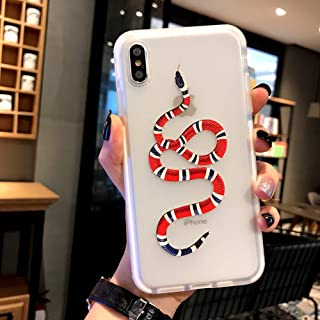 Kplvet iPhone Xs Max Case,Super Shield Protective Thick Semi-Transparent Anti Yellowing Embossed Snake 6.5 iPhone-Xs Max Soft Cover,Street Fashion Trend Phone Case (Shield Snake)