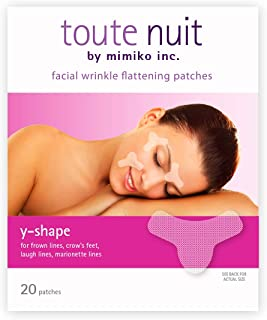 Toute Nuit Facial Wrinkle Flattening Patches, Y-Shape - Preventing Frown Lines, Forehead and Around Lips Anti-Wrinkle Patches, Face Tape - 20 Patches