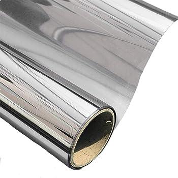 AOJIA Silver Reflective Window Film One Way Mirror Window Film Solar Control Window Film Heat Control Anti UV for Home Office Window Car Glass Sticker 45x200cm