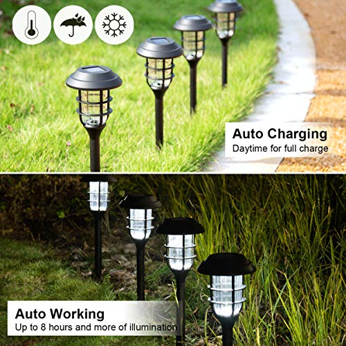 Solpex 8 Pack Solar Pathway Lights Outdoor, Solar Powered Garden Lights, Waterproof Led Path Lights for Patio, Lawn, Yard and Landscape-(Cold White)…