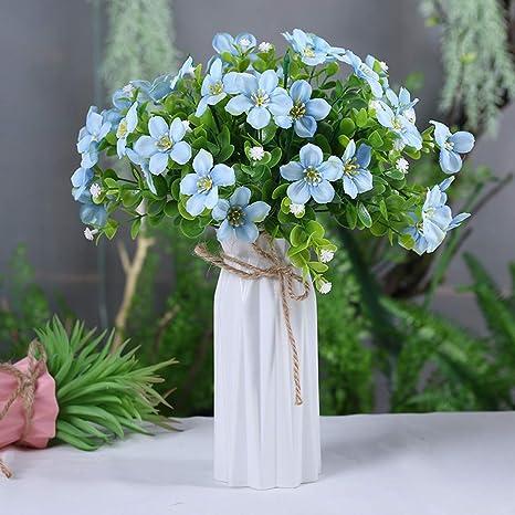 Amazon Com Nadalan Artificial Flower Arrangements Bulk With Vase Fake Blue Small Wildflower Silk Plastic Flowers For Home Decor Desk Garden Party Wedding Decoration Blue Home Kitchen