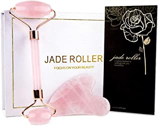 Jade Roller & Gua Sha, Face Roller, Facial Beauty Roller Skin Care Tools, BAIMEI Rose Quartz Massager for Face, Eyes, Neck, Body Muscle Relaxing and Relieve Fine Lines and Wrinkles