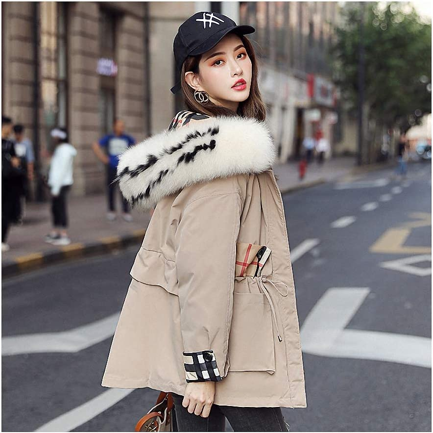 Coat Women Khaki Jacket Large Parkas Pad Cotton Fur Regular store Hooded Max 43% OFF