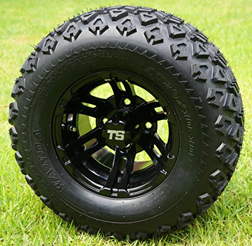 "10"" BULLDOG Black Wheels and 20x10-10 DOT All Terrain Golf Cart Tires - Set of 4"