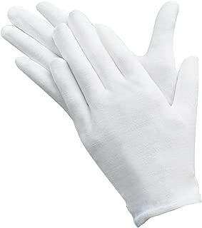 10 pares de guantes de trabajo protectores, de Umsole, ligeros, suaves y elásticos de algodón blancos, guantes de inspección de monedas, joyería de plata, tamaño mediano.