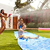 Reicety 19/26 ft Slip and Slides for Kids and Adults, Water Slide for Garden, 3.93 ft Width Waterslide Racing Slide Toy Outdoors Supplies for Summer Water Fun (19x3.93ft, Blue)