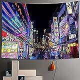 NC83 Tapiz de la Vida Nocturna de la Ciudad Dormitorio Pared de la Ciudad Decoración del hogar Tapiz japonés Bohemio Decorativo Hippie Imprimir Colchón Decoración de la habitación 150X130CM