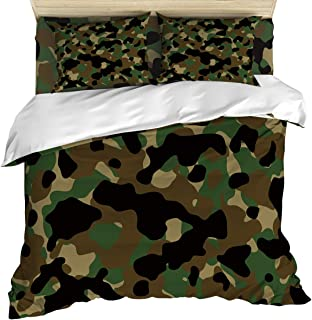 OUR DREAMS Cozy Bedding Sets California King, Camouflage, 4 Piece Quilt Cover Set with Bed Sheet and 2 Pillow Case for Kids/Teens/Adults