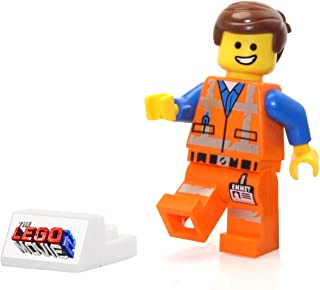 The LEGO Movie 2 MiniFigure - Emmet in Worn Uniform with Smile (and Display Stand)