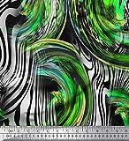 Soimoi Tessuto In Chiffon Di Viscosa Verde A Righe E Tessuto Artigianale Stampato Pelle Di Leopardo Dal Cantiere Largo 42 Pollici