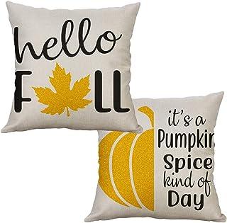 """LEVOSHUA 2 Pack Fall Maple Leaf Pillowcase Throw Pillow Case Cushion Cover Autumn Pumpkin Spice Cotton Linen Pillowcase Home Decorative for Sofa 18"""" x 18"""""""