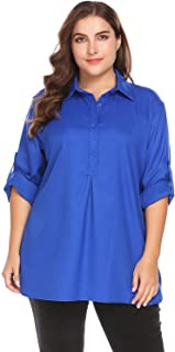 SHANLEE Involand Women's Plus Size Casual Chiffon Shirts V Neck Long Sleeve Blouse Tops