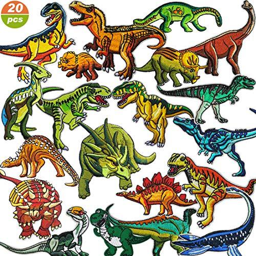 Afuqa Patches zum aufbügeln 20 Stück Patches Sticker,Dinosaurier Thema DIY Kleidung Patches Aufkleber für T-Shirt Jeans Kleidung Taschen