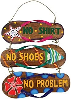 Barry Owens BV362 No Shirt, No Shoes, No Problem 3 Sandals Wood Sign with Twine Hanger 11.75 Inches x 10 Inches