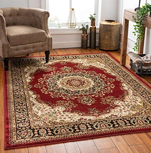 """Well Woven Medallion Oriental Persian Area Rug Red 8x10 8x11 (7'10"""" x 9'10"""")"""
