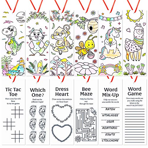60 Pieces Valentine's Day Bookmarks Color Your Own Bookmarks DIY Coloring Valentines Themed Bookmarks for Classroom Home Office Valentines Party Favors