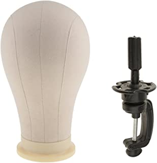 MagiDeal Dummy 23'' Canvas Cork Block Mannequin Manikin Head With Adjustable Rotatable Clamp Hair Wigs Making Caps Hat Display Stand Holder Easy to Install