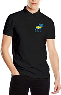 Men's Swedish Flag Moose Fit Short Sleeve Polo Shirt Tee