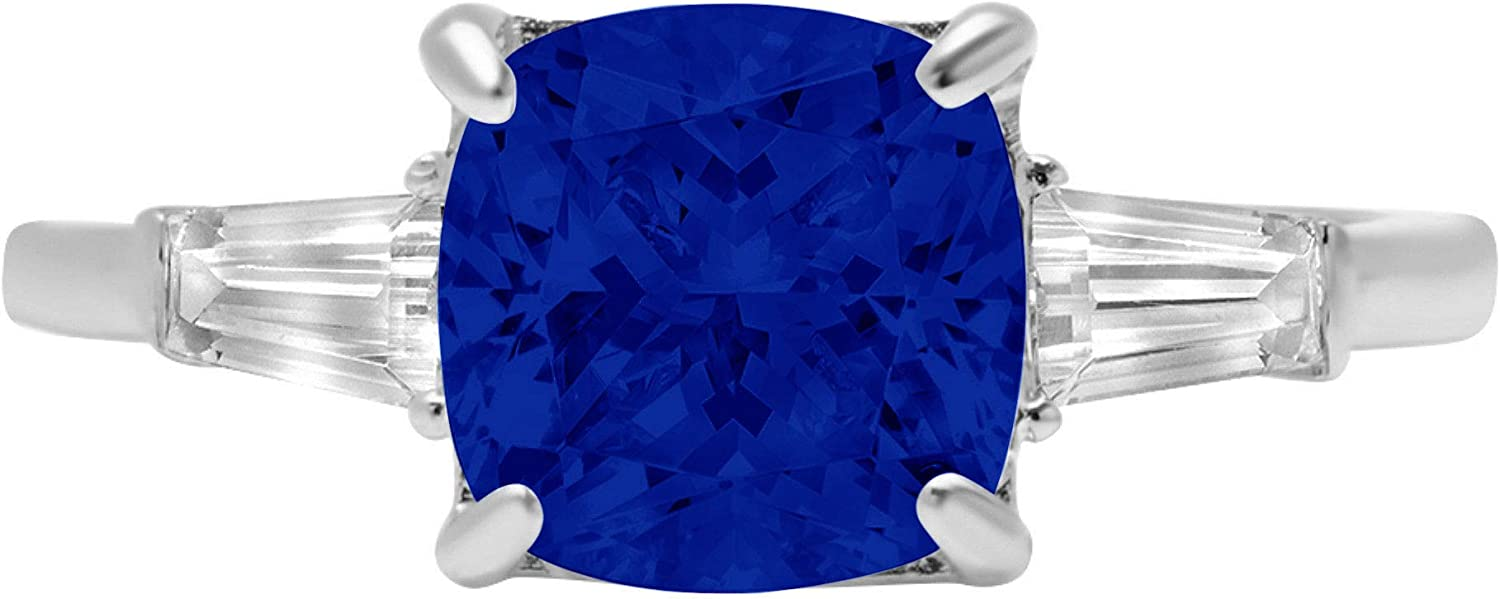 3.44ct Cushion Baguette cut 3 stone Solitaire with Accent Flawless Ideal Genuine Cubic Zirconia Blue Sapphire Engagement Promise Statement Anniversary Bridal Wedding Designer Ring 14k White Gold