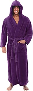 Beauteye Dressing Gowns for Men Super Soft Hooded Dressing Gown Warm and Cozy Fleece Nightwear Robe with Hood Loungewear N...