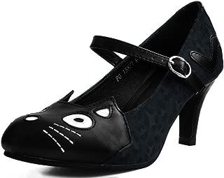 A9445L Womens Heels, Black & Grey Leopard Kitty Mary Jane Heel