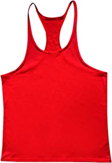 QY Men's Y Back Muscle Fitness Gym Stringer Tank Tops Bodybuilding Workout Sleeveless Shirts Red M