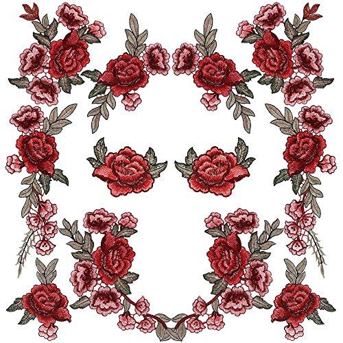 Rovtop 12 Stück Aufnäher Rose Blume Stickerei Applikation Patches für Dekor T-Shirt Jeans Hut