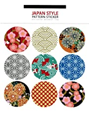"LSW Set of 36 ""Japanese Style"" Round Pattern Stickers [4 sheets of 9 stickers]"